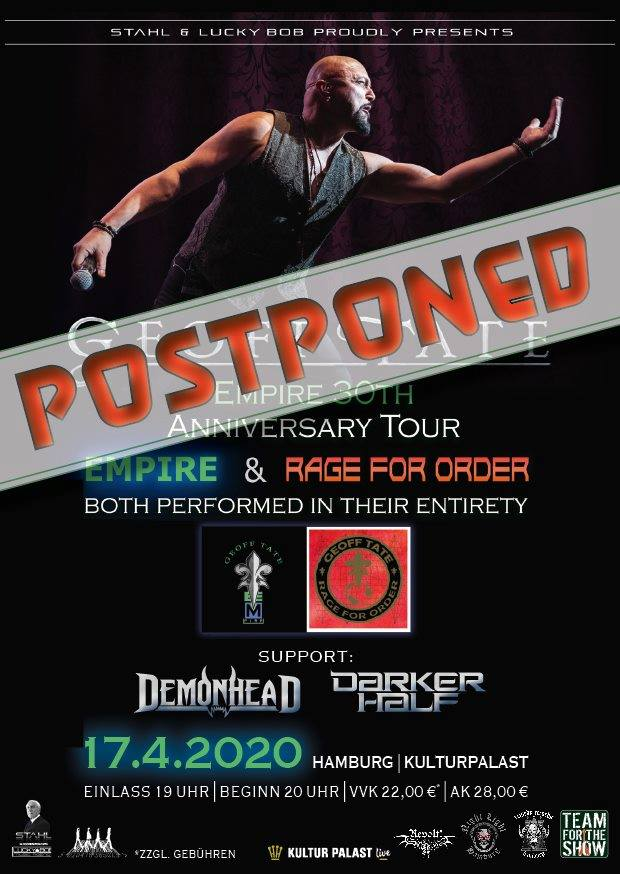 Geoff Tate Hamburg Postponed